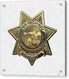 California Highway Patrol  -  C H P  Chief Badge Over White Leather Acrylic Print