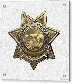 California Highway Patrol  -  C H P  Police Officer Badge Over White Leather Acrylic Print