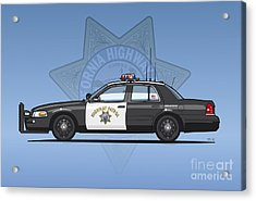 California Highway Patrol Ford Crown Victoria Police Interceptor Acrylic Print by Monkey Crisis On Mars