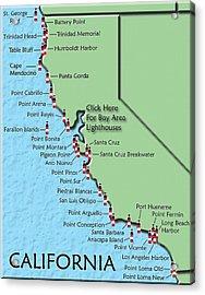 California Lighthouse Map Acrylic Print by Christine Till