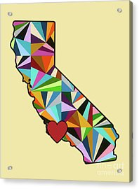 Acrylic Print featuring the mixed media California Love Geometric Map by Carla Bank