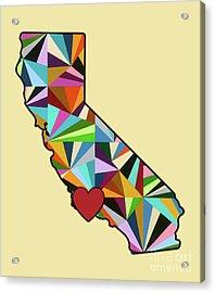 California Love Geometric Map Acrylic Print