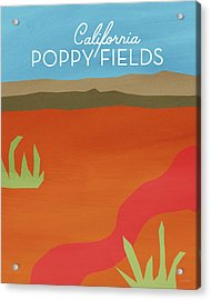 California Poppy Fields- Art By Linda Woods Acrylic Print