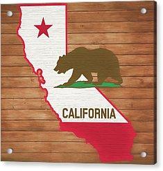 California Rustic Map On Wood Acrylic Print