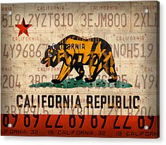 California State Flag Recycled Vintage License Plate Art Acrylic Print by Design Turnpike