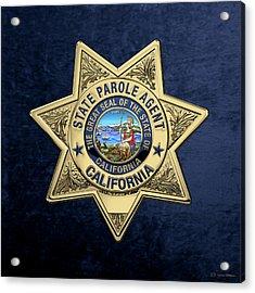 California State Parole Agent Badge Over Blue Velvet Acrylic Print by Serge Averbukh