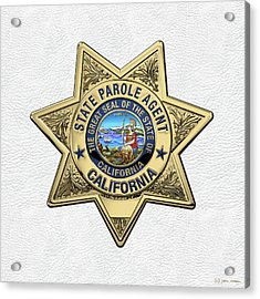 California State Parole Agent Badge Over White Leather Acrylic Print by Serge Averbukh