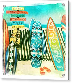 California Surfboards Acrylic Print by Nina Prommer