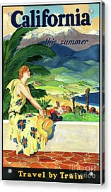 California This Summer Restored Vintage Poster Acrylic Print by Carsten Reisinger