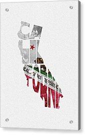 California Typographic Map Flag Acrylic Print