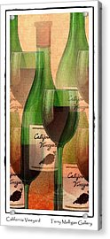 California Vineyard Wine Bottle And Glass Acrylic Print by Terry Mulligan