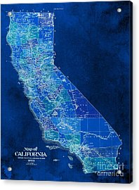 California Vintage Old Map, Year 1898 Acrylic Print