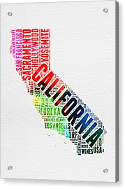 California Watercolor Word Map Acrylic Print by Naxart Studio