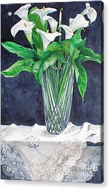 Calla Lilies And Lace Acrylic Print