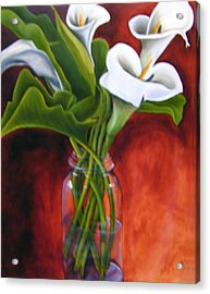 Calla Lilly On Red Acrylic Print by Joyce Snyder