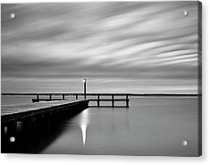 Calm Barnegat Bay New Jersey Black And White Acrylic Print
