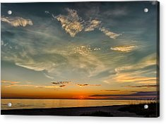 Calm Gulf Waters Sunset Acrylic Print by Frank J Benz