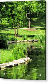 Acrylic Print featuring the painting Calm Lake Ellyn by Christopher Arndt