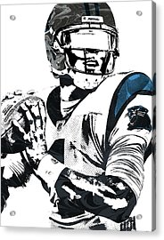 Acrylic Print featuring the mixed media Cam Newton Carolina Panthers Pixel Art 3 by Joe Hamilton