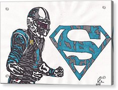 Cam Newton Superman Edition Acrylic Print by Jeremiah Colley