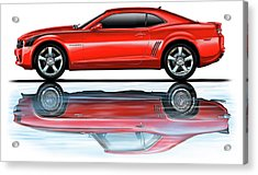 Camaro 2010 Reflects Old Red Acrylic Print by David Kyte