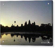 Cambodia Angkor Wat Classic Angkor Wat  Silhouette And Reflection At Sunrise Acrylic Print