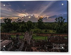 Cambodia Temple Ruins Sunset Acrylic Print by Mike Reid
