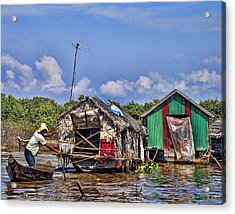 Cambodian Fishing Scene Acrylic Print