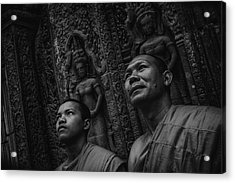 Cambodian Monks Bw Acrylic Print by David Longstreath