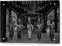 Cambodian Temple Dancers Acrylic Print by David Longstreath