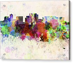 Cambridge Ma Skyline In Watercolor Background Acrylic Print by Pablo Romero