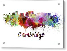 Cambridge Ma Skyline In Watercolor Acrylic Print by Pablo Romero