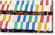 Cambridge Market Stripes Acrylic Print by David Warrington