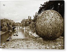Cambridge Punting Sepia Acrylic Print by Eden Baed