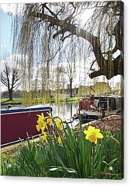 Acrylic Print featuring the photograph Cambridge Riverbank In Spring by Gill Billington