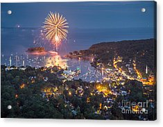 Camden Fireworks From Mount Battie Acrylic Print