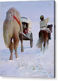Camel Car Acrylic Print by Ji-qun Chen