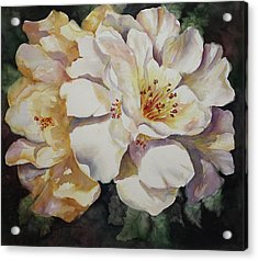 Acrylic Print featuring the painting Camellias Golden Glow by Roxanne Tobaison