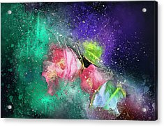 Camellias In A Galaxy Far Far Away Acrylic Print