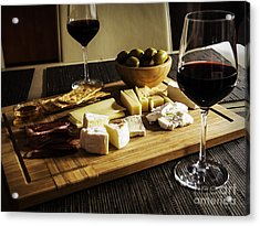 Camembert, Gouda And Brie Cheese Platter With Wine Glasses Acrylic Print
