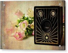 Camera And Campanula Flowers Acrylic Print by Garry Gay