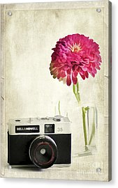 Camera And Flowers Acrylic Print by Darren Fisher