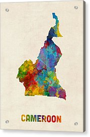 Acrylic Print featuring the digital art Cameroon Watercolor Map by Michael Tompsett