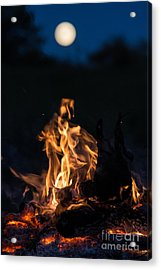 Camp Fire And Full Moon Acrylic Print by Cheryl Baxter