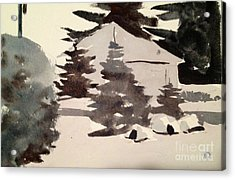 Acrylic Print featuring the painting Camp Patoka Black And White Study by Charlie Spear