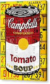 Campbells Tomato Soup Can Recycled License Plate Art Acrylic Print