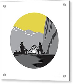 Campers Sitting Cooking Campfire Circle Woodcut Acrylic Print by Aloysius Patrimonio