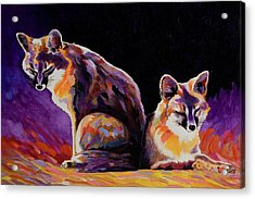 Acrylic Print featuring the painting Campfire Surveillance Team by Bob Coonts