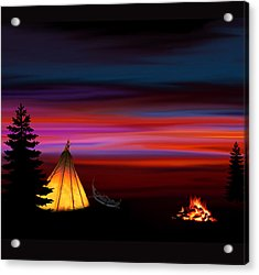 Camping Acrylic Print by Art Spectrum