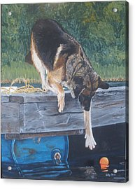 Acrylic Print featuring the painting Can She... by Betty-Anne McDonald